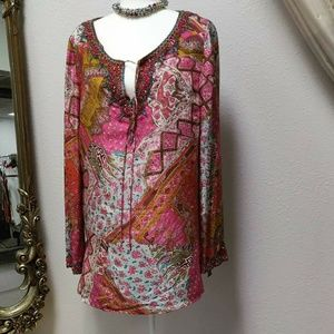 Dana Buchman beaded silk tunic